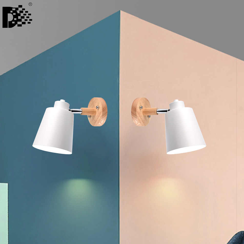 2PCS X AC85-260V wood wall lights bedside wall lamp wall sconce modern wall light for bedroom macaroon 6 color steering head E27