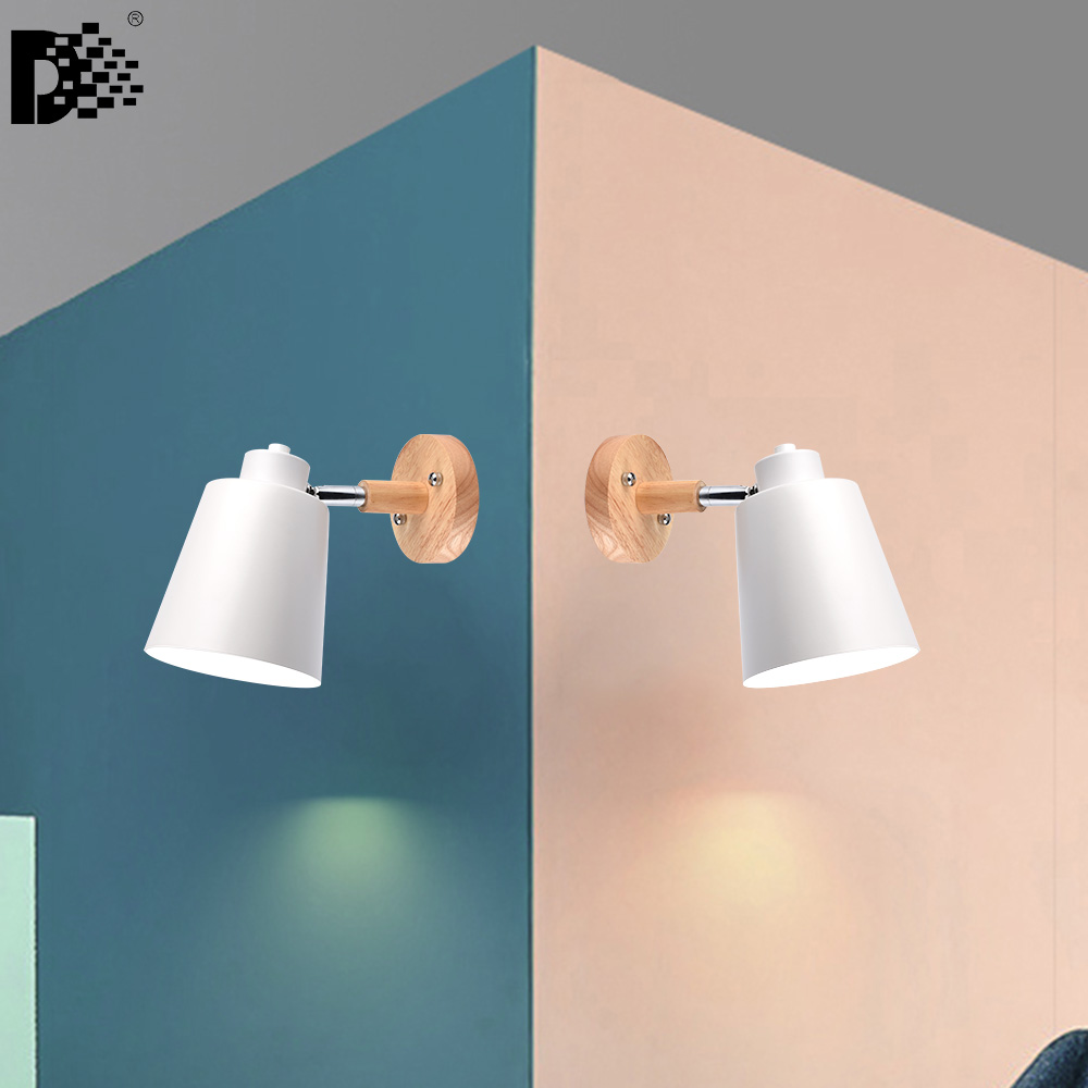 2PCS X AC85-260V wood wall lights bedside wall lamp wall sconce modern wall light for bedroom macaroon 6 color steering head E27 toilet seat