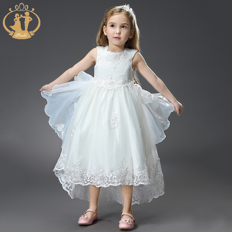 Nimble dress for girls Embroidery flower kids clothes for Wedding Party roupas infantis menina children clothing