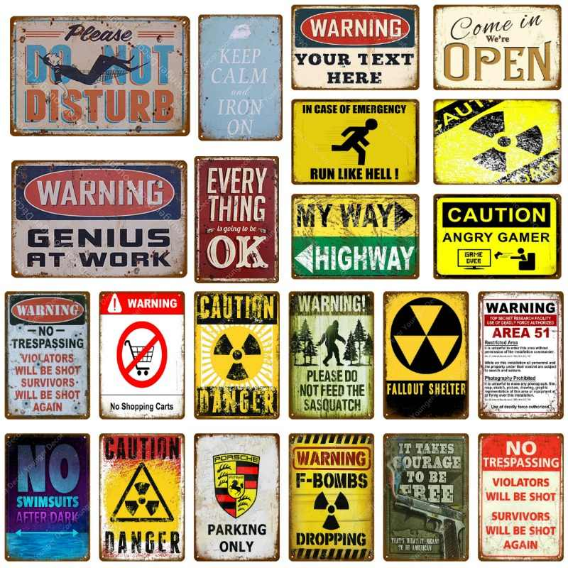 Caution Angry Gamer Metal Signs Warning My Way Highway Poster Vintage Advertising Plaque Wall Art Plate Pub Bar Cafe Home Decor