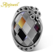 цена на Size 6-8 Fashion Jewelry Vintage 18K White Gold Plated Crystal Ring For Women