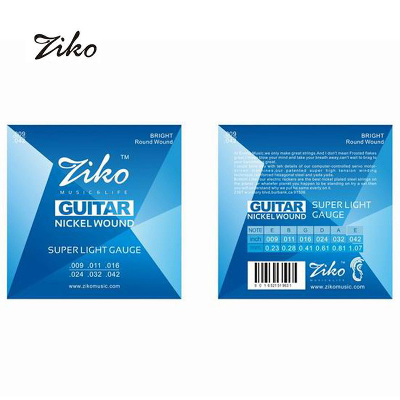Acoustic Guitar Strings  ZIKO DN009 DN010  Musical Instruments  009-042 Custom Super Light  Wound Strings for Guitar 1 Sets amola acoustic guitar strings set 010 012 011 pure copper steel 010 047 acoustic wound guitar 1 6th string musical instruments