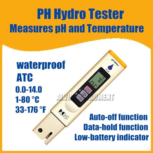 Free Shipping High Quality PH&Temperature Hydro Tester Meter Pen Type ATC Waterproof Data-hold  free shipping ph stick ph meter ph pen tester pen type range 2 1 10 8ph waterproof atc accuracy 0 1ph