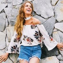 Womens Casual Boho Floral T Shirt Tops Summer F  with Choker 2018 Laipelar