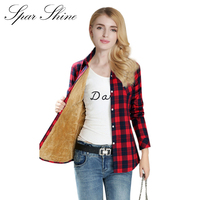SPARSHINE Women S Plaid Shirt 20 Colors Flannel Thick Warm Female Long Sleeve Tops M XXL