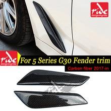 G30 Carbon Fiber Fender Car Front Side Air Vent Cover Trim 2PCS/SET For BMW 5-Series 528i  2017-18
