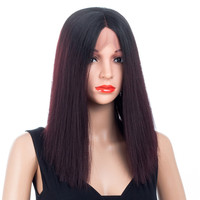 XCCOCO 180% Density Full Lace Wig 14 Inch Hair Straight Wigs For Women 150g Heat Resistant Kanekalon