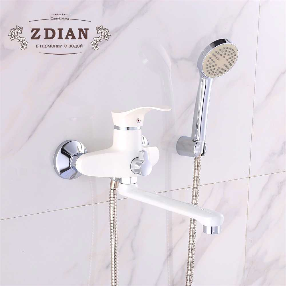 New Arrival 1 Set Zinc Alloy Outlet Pipe Beige Bath Shower Faucets Mixer Tap With Hand Sprayer Shower Head Bathroom Taps