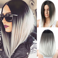 Ombre Wig Dark Roots Natural Cheap Hair Wig Short Wigs for Black Women Ombre Grey Synthetic Hair