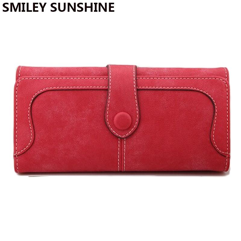 SMILEY SUNSHINE brand wristlet women wallets 2017 female leather long red wallet big women purses monederos portefeuille femm short smiley