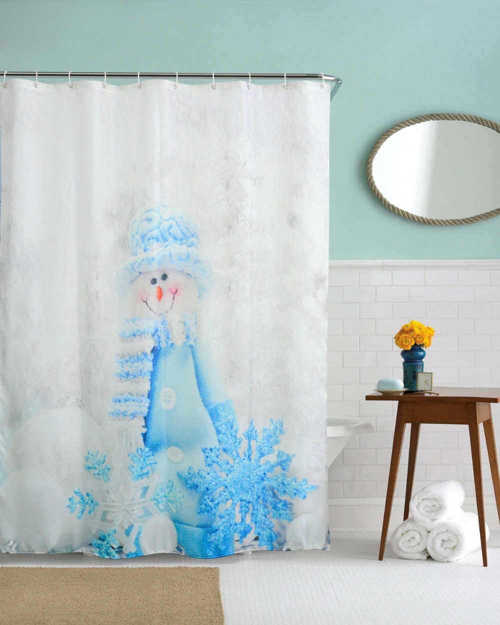 Snowman 3d shower curtains waterproof polyester bathroom - Rideau de douche polyester ...