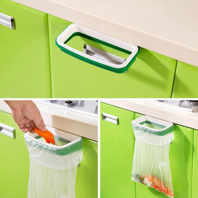 Kitchen Hanging Trash Bag Holder Cupboard Cabinet Tailgate Stand Storage Garbage  Bags Rack 2017 Drop Shipping