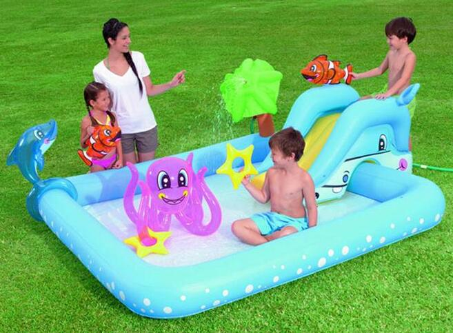 239cm Eco-friendly Spring PVC Kids Baby Inflatable Slide Play Swimming Pool Piscina Children Kids Large Swim Boat S7011 381cm eco friendly pvc kids baby inflatable slide play swimming pool piscina children kids large swim boat s7010