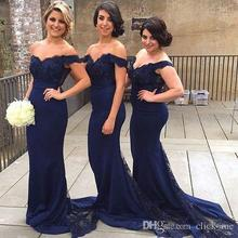 Navy Blue Mermaid Bridesmaid Dress Off Shoulder Sequins Beads Lace Bridesmaid Dress Button Back Wedding Guest Dreess  BD153