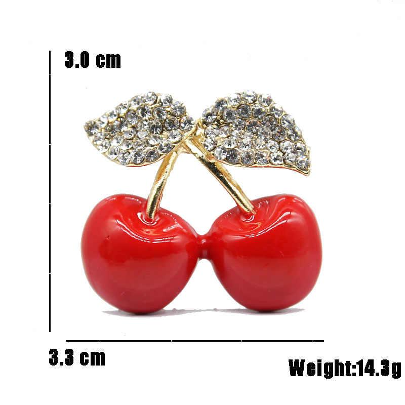 Горный хрусталь красная Вишня брошь Банкетный Для мужчин Для женщин Брошь контакты Мода фруктов платье свитер Костюмы брошь Высокое качество Jewlery