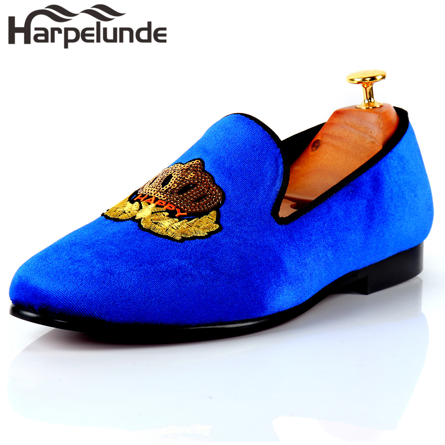 92a270d4634fb0 Harpelunde Men Classic Wedding Shoes Motif Badge Green Velvet Flat Loafers  Size 6 14-in Formal Shoes from Shoes on Aliexpress.com