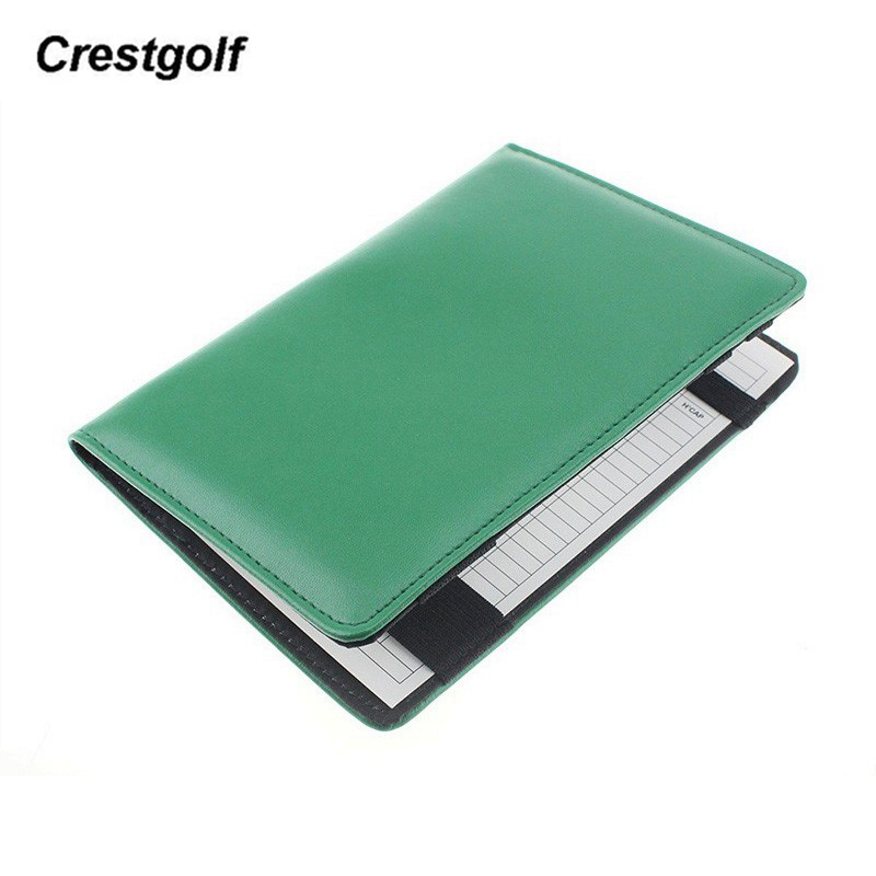 CRESTGOLF Deluxe Genuine Leather Golf Score Card Holder With A Wood Pencil And 2 Cards