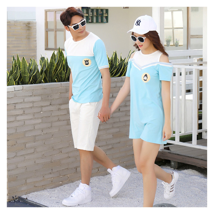 HTB15Znrcf1H3KVjSZFHq6zKppXa3 - Summer Clothes Family Matching Outfits Dad Son Short Sleeve T-Shirt Mother Daughter Dresses Cute Blue White Dress Clothing