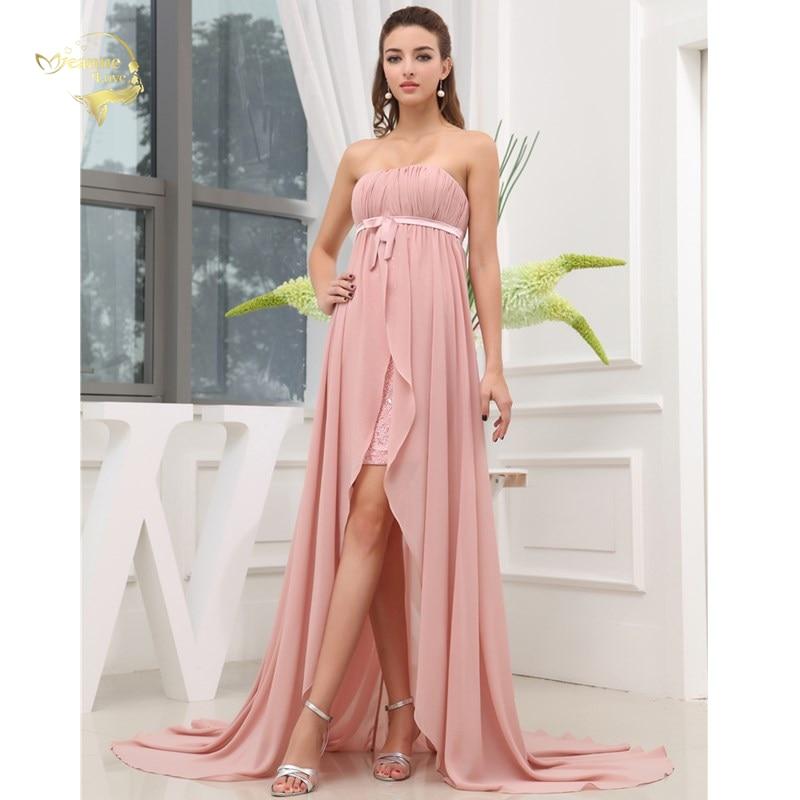 New Pregnant Women Evening Dress Zipper Long Formal Empire Evening Dresses 2019 Chiffon Pink With Train