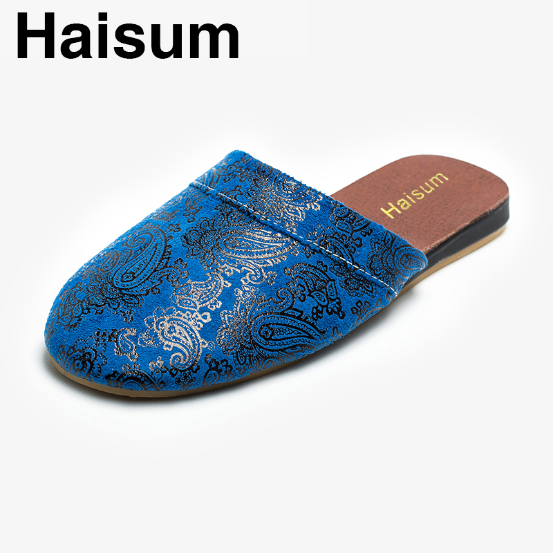 Ladies Slippers Spring And Autumn genuine Leather Home Indoor Non - Slip Thermal Slippers 2018 New Hot Haisum Kh002 men s slippers winter pu leather home indoor non slip thermal slippers 2018 new hot haisum h 8007