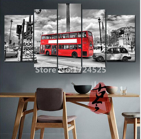 5 piece london street red bus canvas painting modern home decor wall