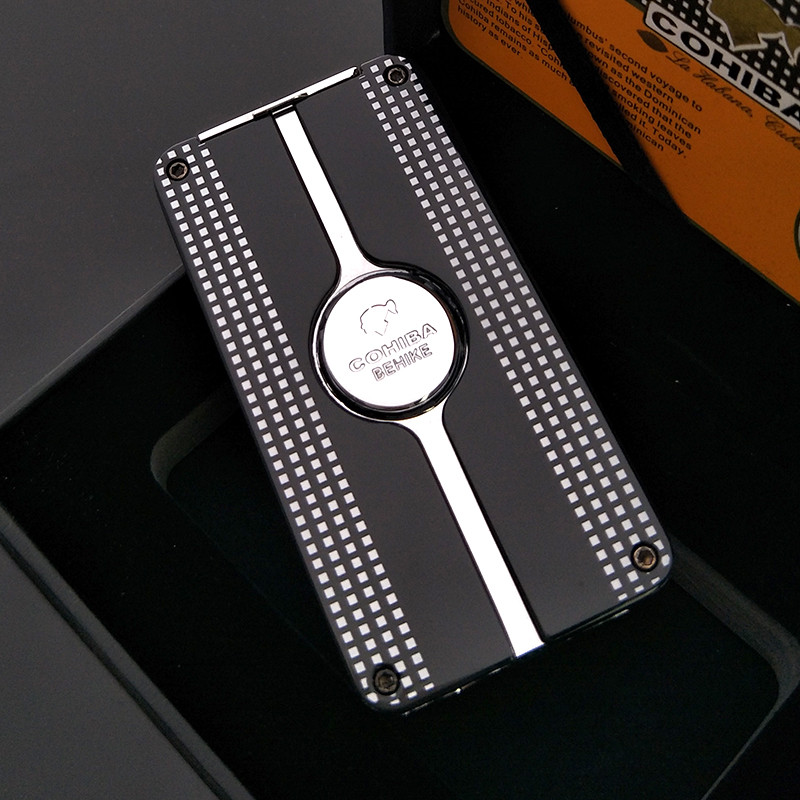 COHIBA 3 Torch Jet Cigarette Lighter Cool Black Windproof Series Gas Butane Cigar Cigarette Lighter With a Gift Box