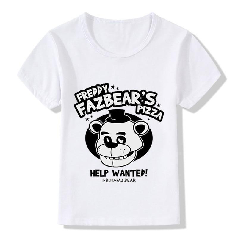 5-Freddys Top-Tee T-Shirt kids Girls Boys Children Five-Nights Pizza-Print Funny Baby