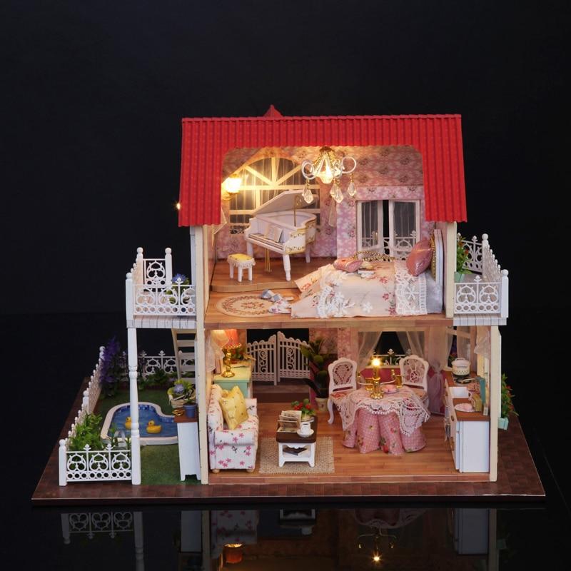 Mignon chambre bricolage maison de poupée modèle Miniature avec LED 3D meubles en bois maison jouets faits à la main cadeaux d'anniversaire pour enfants A033 # E-in Poupée Maisons from Jeux et loisirs    3