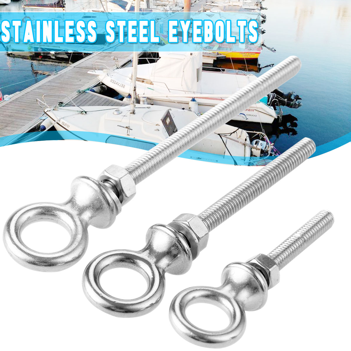 Audew Stainless Steel Boat Yacht Marine Grade Eye Bolts Screw Thread 60/80/100mm Nuts  High Strength Good Hardness Accessories