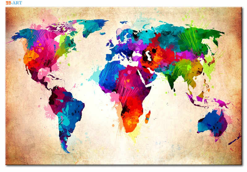 Map of the World Torn Picture TREBLE CANVAS WALL ART Print