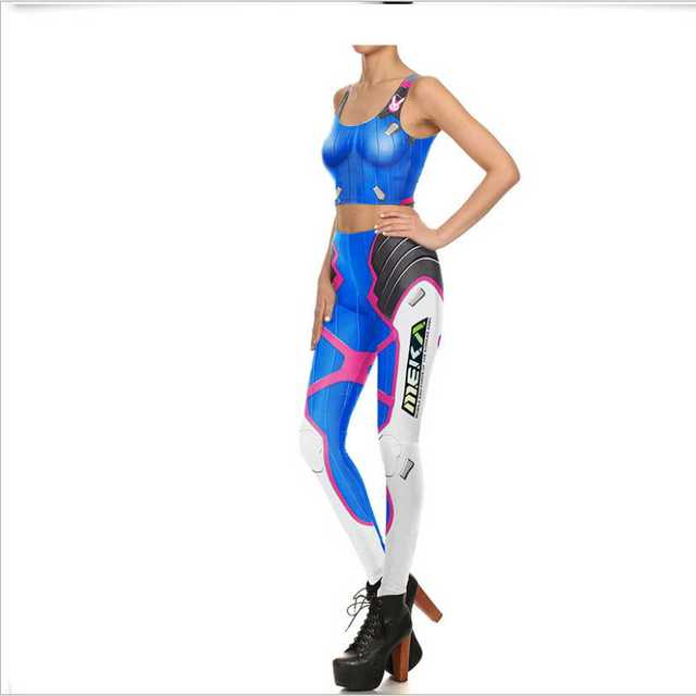 Game O W Sexy D.VA Cosplay Costume Slim Games Tops and Pants 3d Print Leggings Over DVA Clothing Cusual Summer Tight Bodysuit