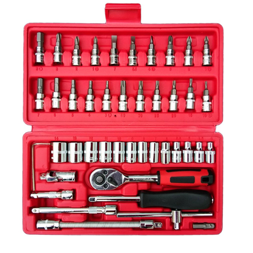 46 in 1 Wrench Combination Socket Bit Set Ratchet Tool Torque Wrenches Kit Car Auto Repair Repairing Accessories Fast Shipping professional quality 121pcs socket set car repair tool ratchet set torque wrench combination bit a set of keys chrome vanadium