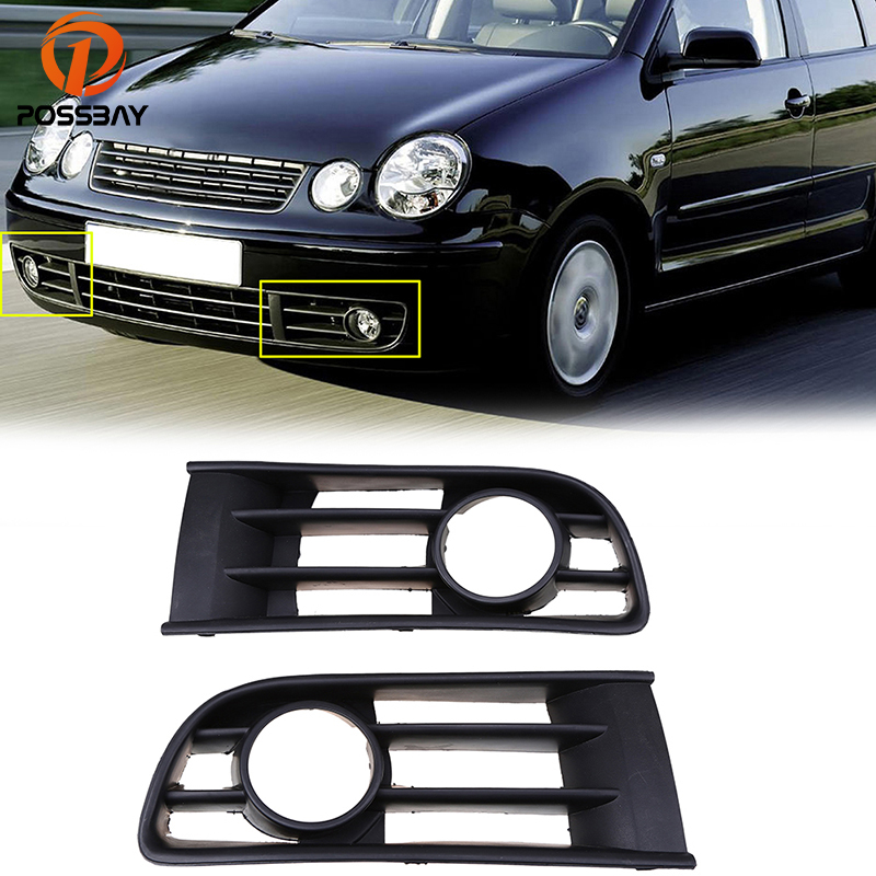 POSSBAY Black Front Left/Right Side Fog Lamp Grille with Hole for VW Polo Typ 9N 2002/2003/2004/2005 Car Fog Lights Cover car styling led light for vw touareg 2003 2004 2005 2006 2007 right side led front bumper fog lamp fog light with bulb