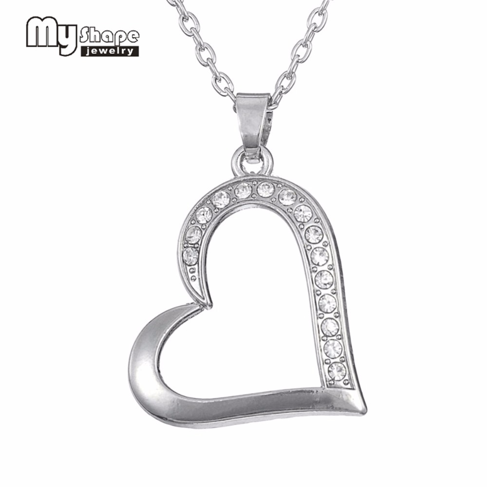 my shape Clear Rhinestone Heart Pendant Necklace Romantic Gift for Women & Girls Christmas Gift Couples Jewelry