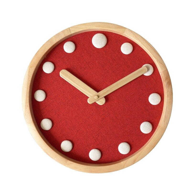 12 pouces en bois maison muet salon chambre horloge murale Simple ronde moderne calme décoration suspendue montre - 3