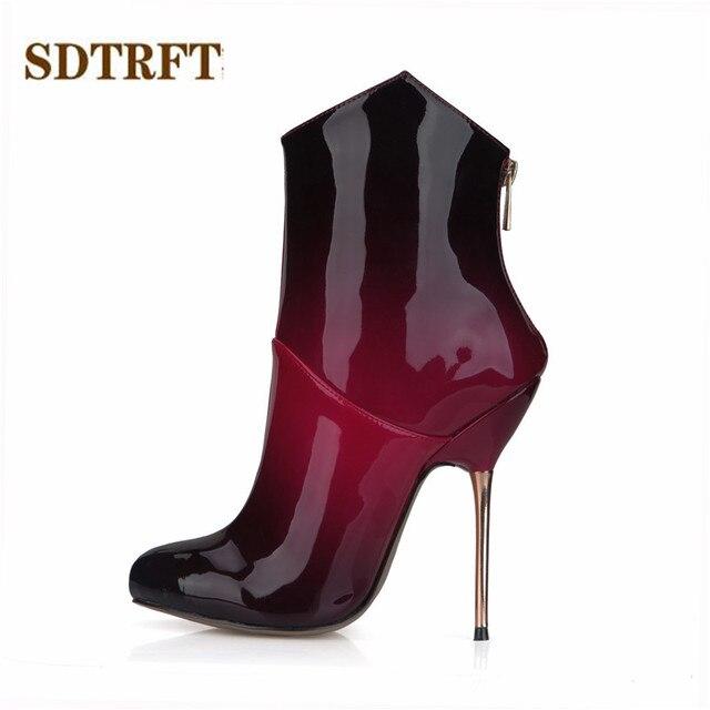 Delgadas Tacón Alto De 12 Botines Zapatos Rojos Stilettos Sdtrft Cm wRCqtSC4x