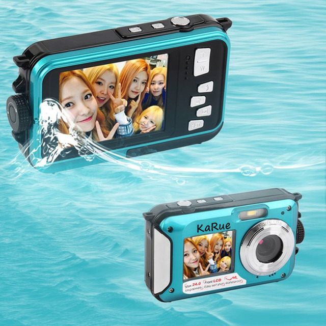 US $48 68 |KaRue Hot Digital Camera 3M Waterproof Camera 2 7 Inch +1 8 Inch  Double Screen Max 24MP 16XDigital Zoom Blue color Camcorder-in Point &
