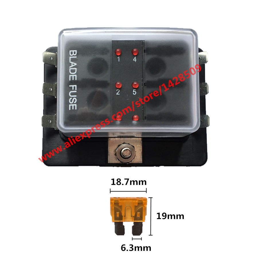 1 pcs led illuminated 6 way dc 32v circuit car fuse box set boat automotive blade fuse holder block for car boat auto [ 900 x 900 Pixel ]