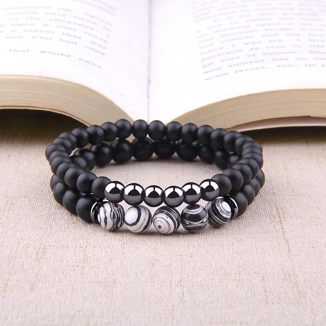 Fashion 2pcs Bracelet Men Natural Striped Agates Matte Black Onyx Beads Bracelet for Women&Mens Hematite Energy Jewelry Pulseras 2