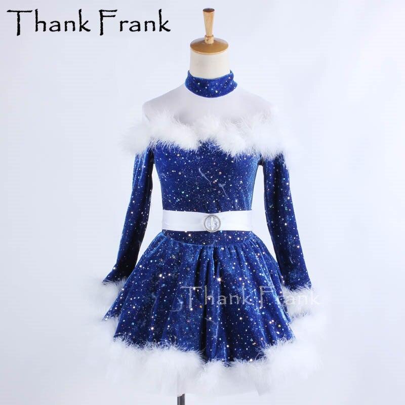 New Kids Girls Ballet Dress Long Sleeves Velvet Feather Ballet Gymnastics Leotard Tutu Dresses For Girl