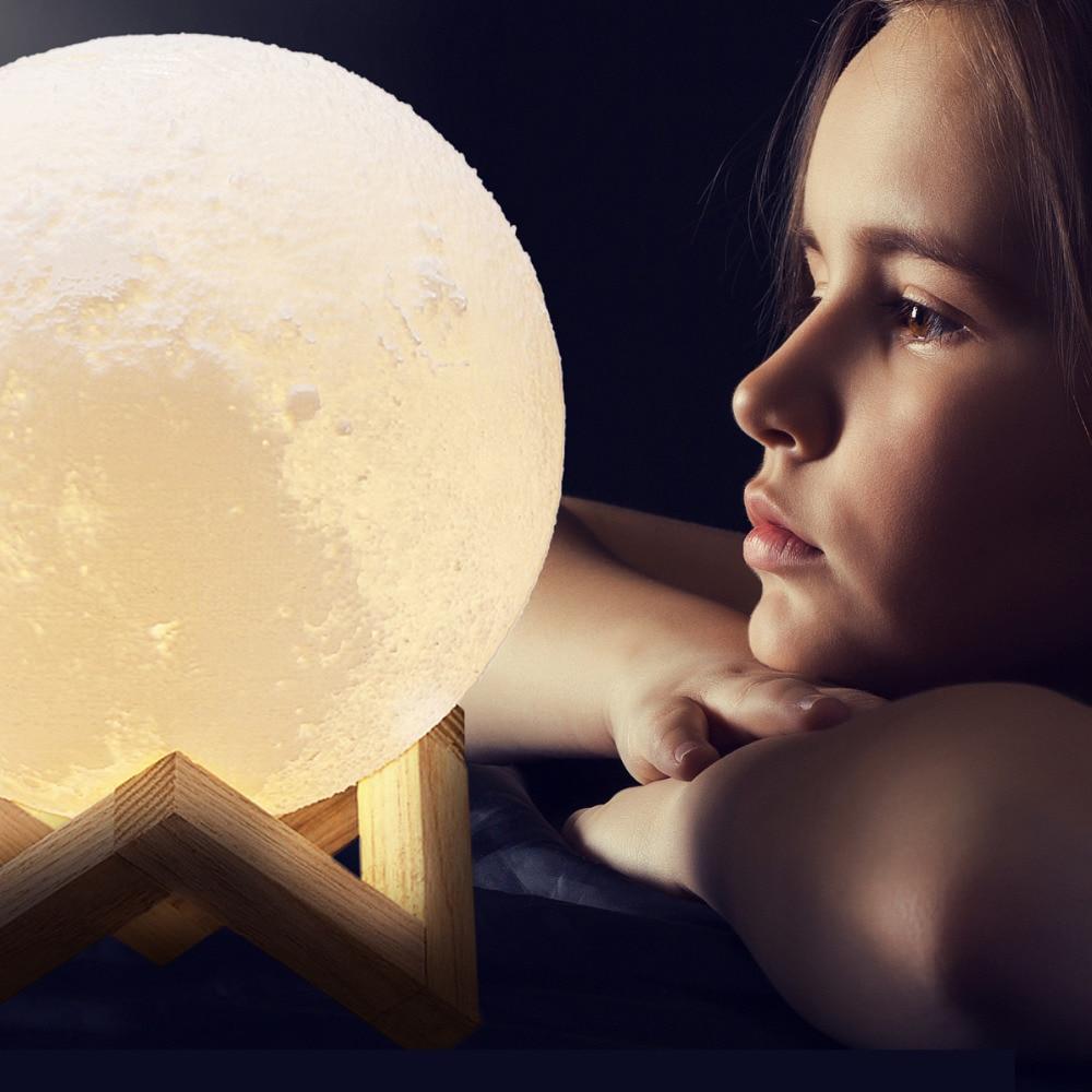 купить 3D Print Moon LED Night Lights USB Powered Touch Control 2 Colors Temperature Desk Lamp Luminaria Light Creative Bookcase Decor по цене 303.27 рублей