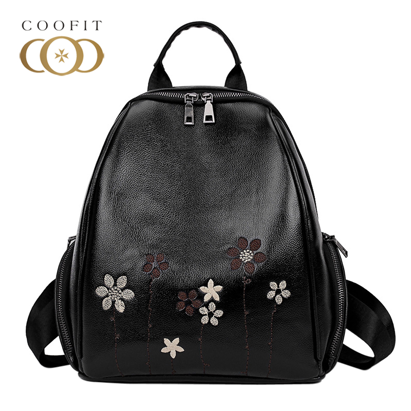 Coofit Vintage Flowers Embroidery Mini Backpacks For Woman Girls Teenage PU Leather Bagpack Female Floral Printed Travel Daypack a three dimensional embroidery of flowers trees and fruits chinese embroidery handmade art design book