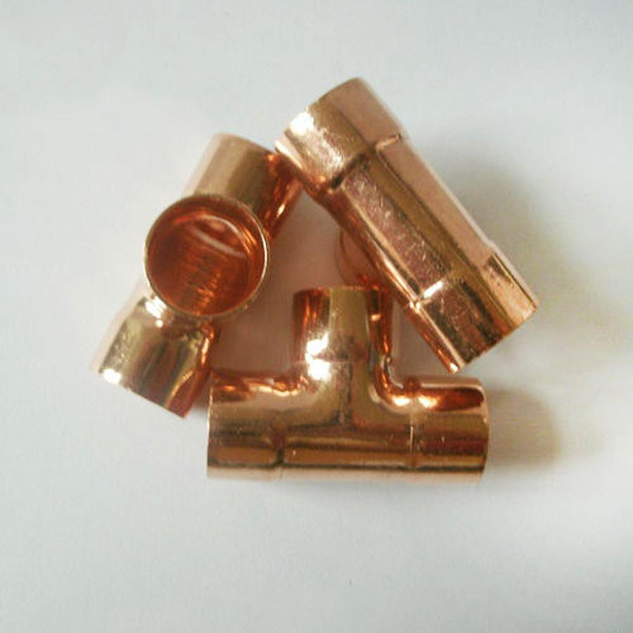 22mm Inner Dia X1mm Thickness Copper Equal Tee Socket Weld End Feed Coupler Plumbing Fitting Water Gas Oil