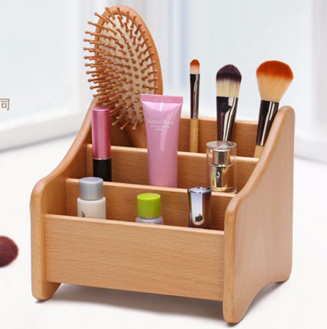 Marvelous CHUXIN Beech 3 Groove Cosmetic Accessories Storage Wooden Makeup Storage  Box Creative Dresser Desk Accessories