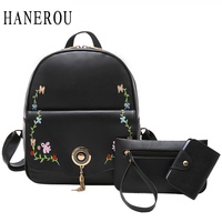 2017 Embroidery Flowers Women's Backpacks School Bags For Girls 3 Pcs New Tassel Sequined Shoulder Bags Women Fashion Sac A Dos