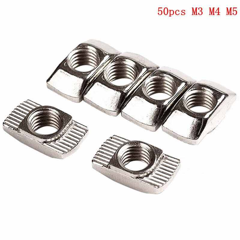 50Pc M3/M4/M510*6 For 20 Series Thread T Nut Slot T-nut Sliding TNut Hammer Drop In Nut Fasten Connector High Strength Hardness