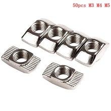 50 шт. M3/M4/M510 * 6 для 20 серии T, Т образная гайка, скользящий TNut Hammer, крепежная гайка, коннектор, высокая прочность, твердость