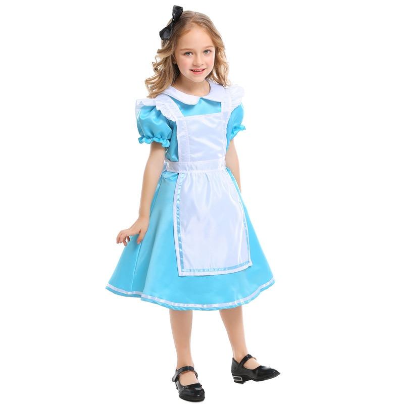 Children Alice In Wonderland Princess Maid Dress Costumes Cosplay For Girls Halloween Birthday Gift Party Carnival Disfraz