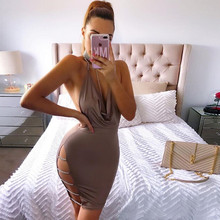 Fuedage 2018 Fashion V Neck Backless Dress Women Summer Sexy Spaghetti Strap Hollow Out Mini Dresses Club Party Diamond Vestidos
