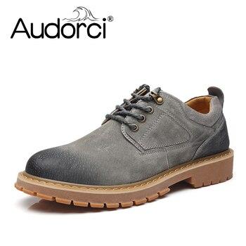 Audorci אופנה Mens נעלי עור מגפי גברים עמיד למים איכות חורף קרסול מגפי מגפי עור אמיתיים נוחים לגבר